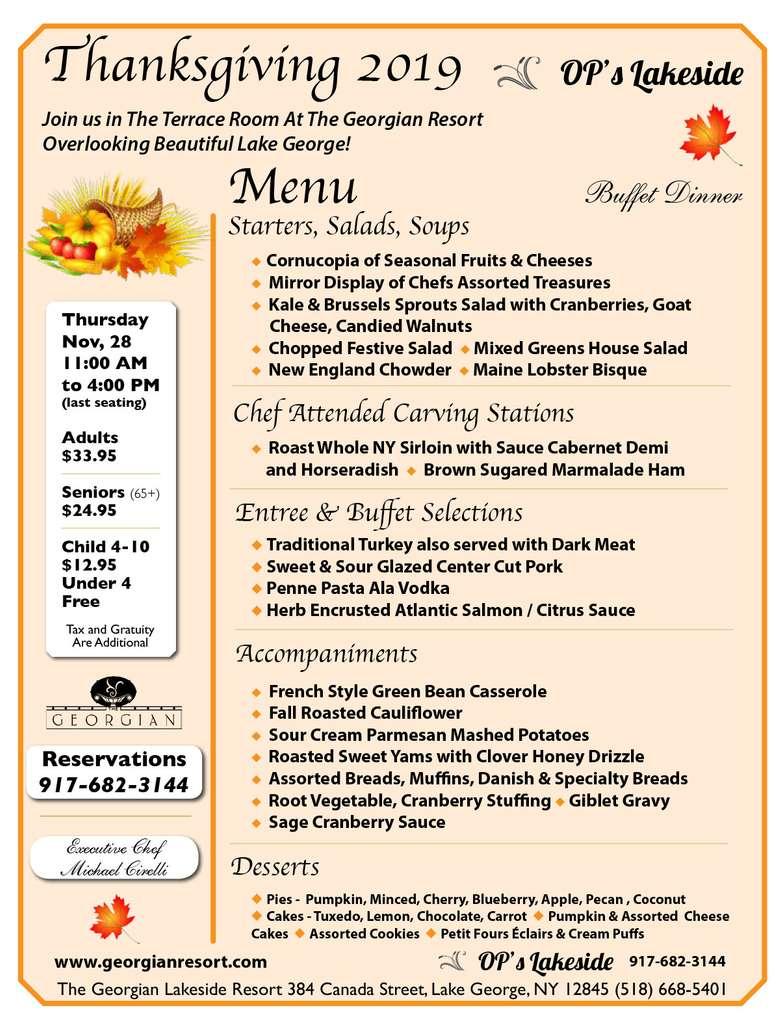 georgian 2019 thanksgiving menu