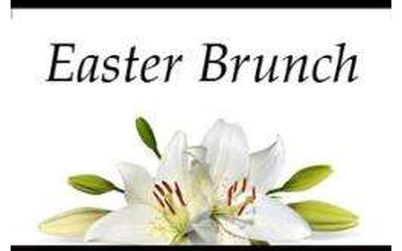 white flowers with text saying Easter Brunch