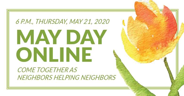 banner that says may day online with a watercolor flower