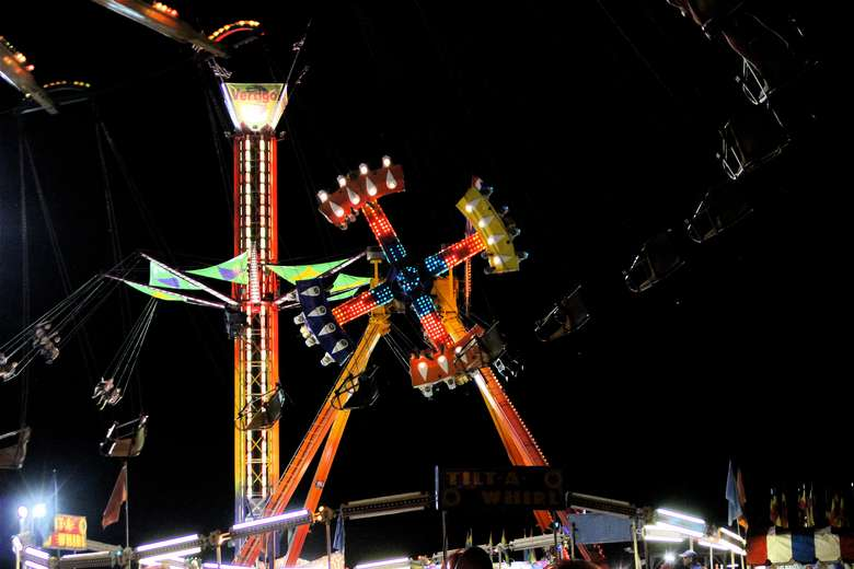 a ride lit up at night