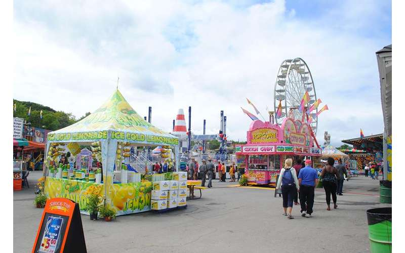 midway with food vendors and ferris wheel in background