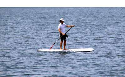 person on sup on lake