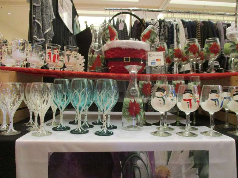 display of holiday glassware