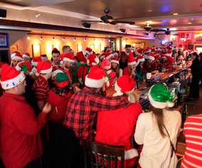 crowd at santacon