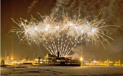 fireworks from a cruise ship in winter