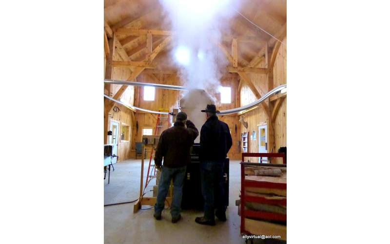 inside of a maple sugar house