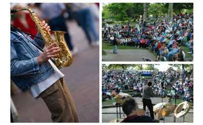 collage of musicians performing at the jazz festival