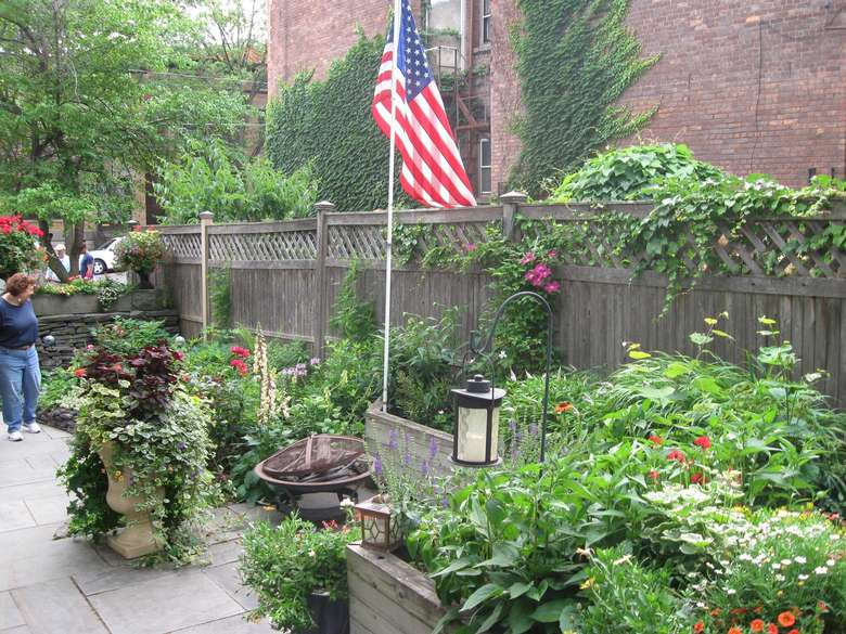potted plants and an American flag