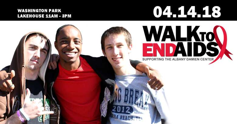 three people in a walk to ends AIDS poster