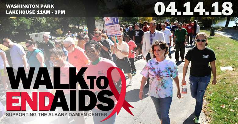 a walk to end AIDS poster with a group of people featured