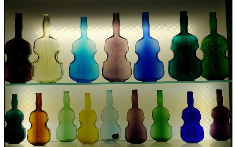 antique bottles on display