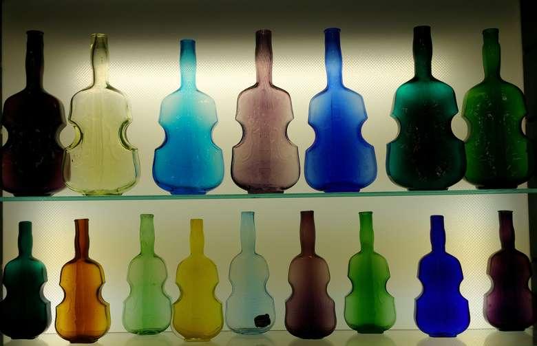 antique bottles on display