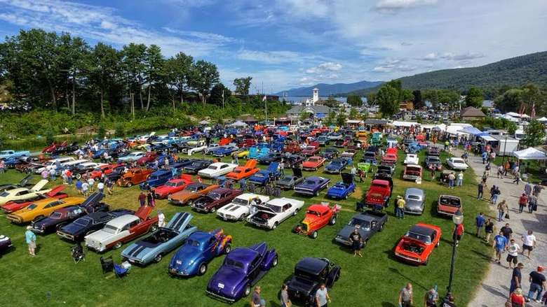 aerial view of car show