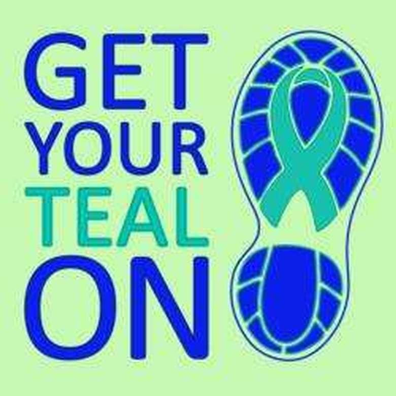logo for the teal ribbon run and walk