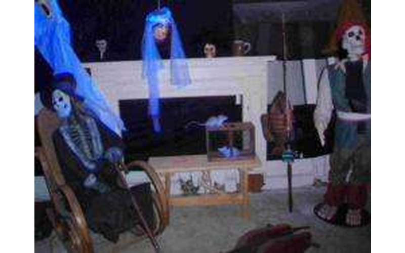 decorations in a haunted room