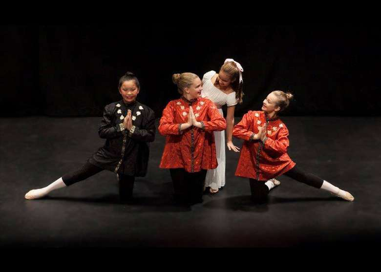 four young ballet dancers