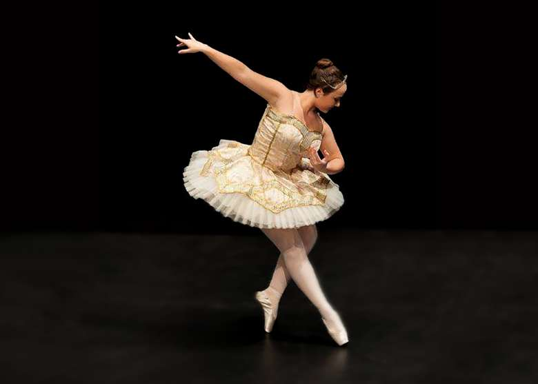 one ballet dancer in a pose