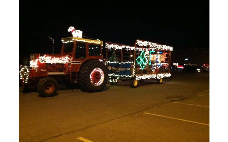 holiday lights on tractor