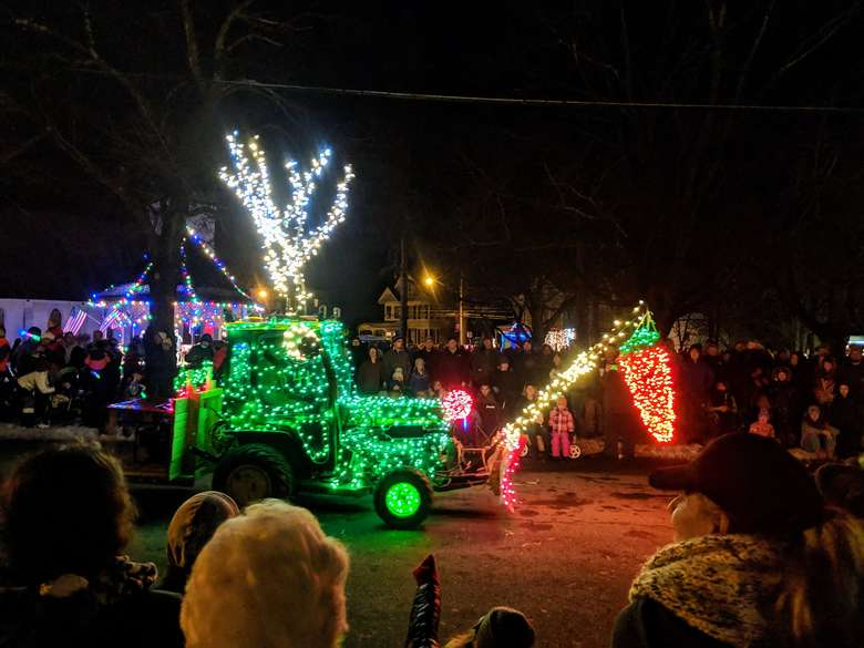 lighted tractor in parade