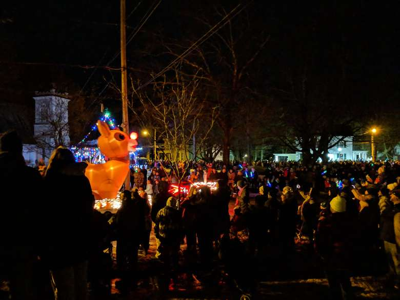 lit up Rudolph in parade