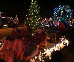 children in the lighted tractor parade