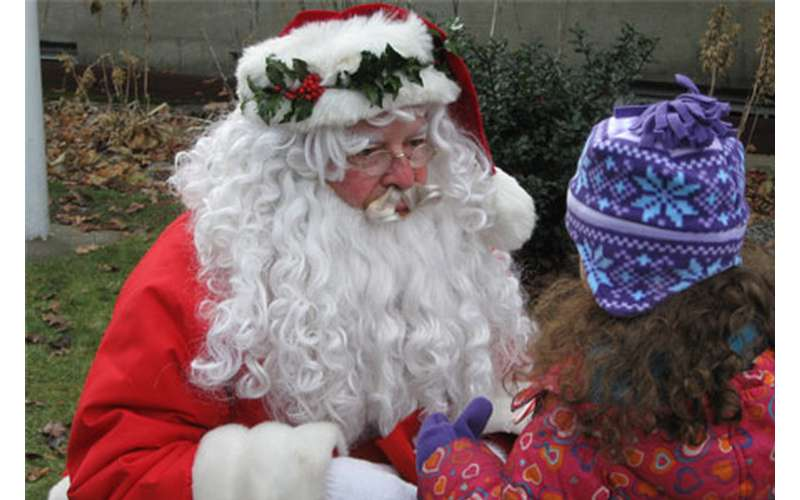 Santa Claus meeting with a young girl