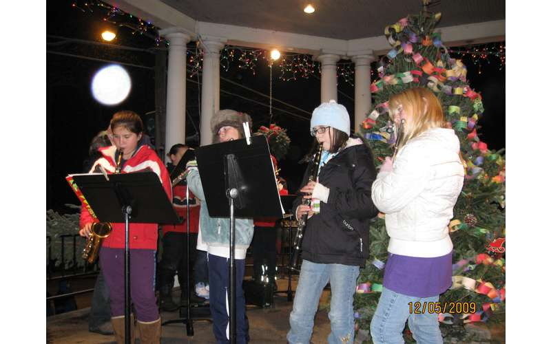 students playing instruments in a bandstand at night