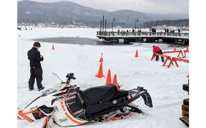 snowmobile on ice