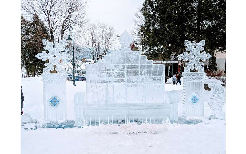 an ice bench scuplture