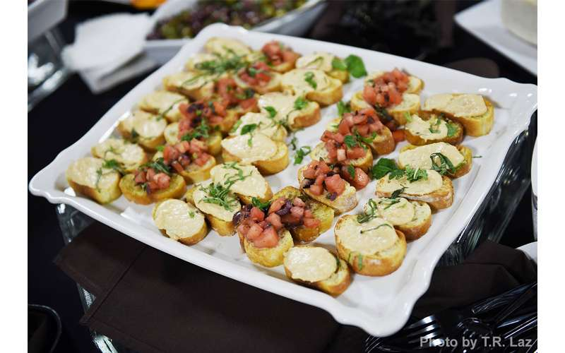tray of bruschetta appetizers