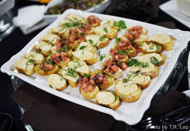 tray of bruschetta appetizers