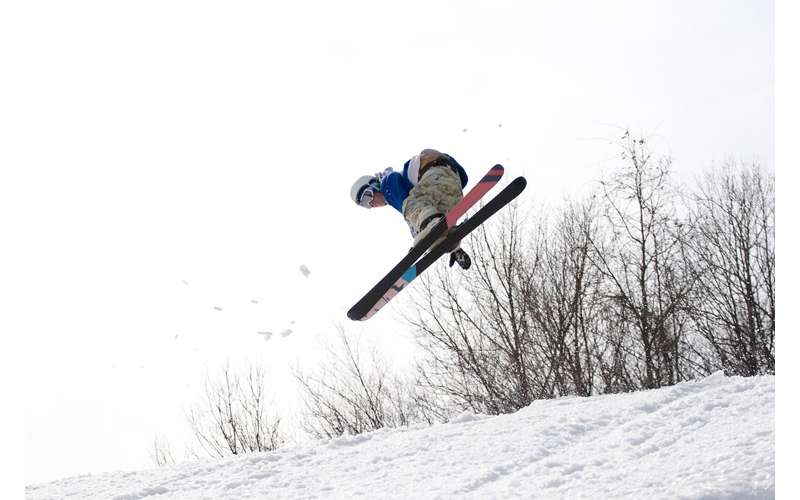 a skier in the air