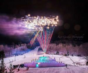 fireworks at ice castle