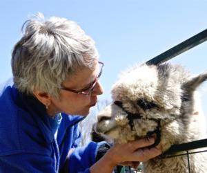 woman kissing an alpaca