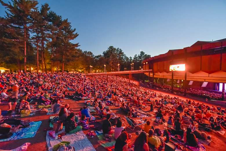 evening lawn audience at spac