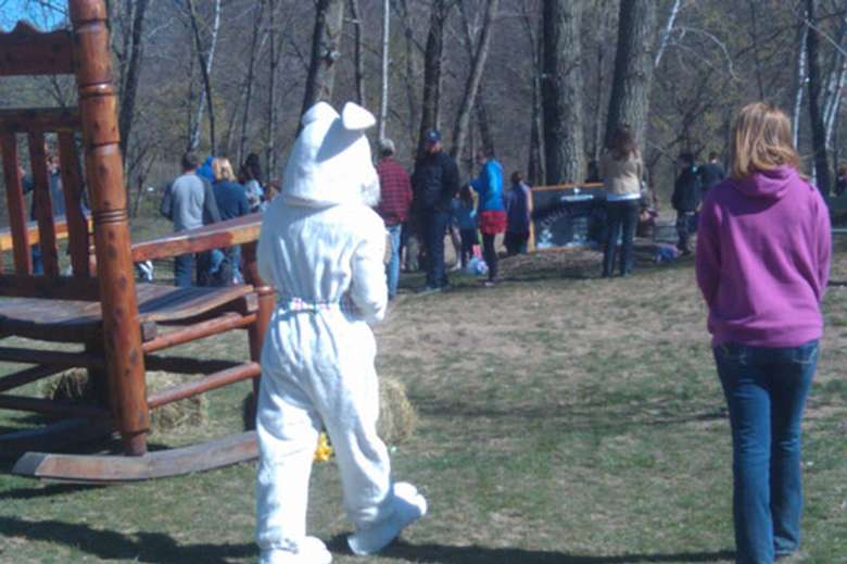 Easter Bunny walking over to people