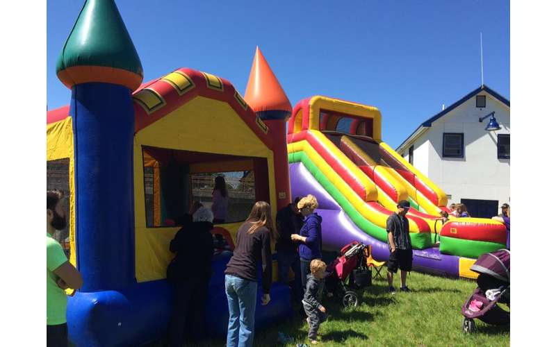 a bounce house castle and slide