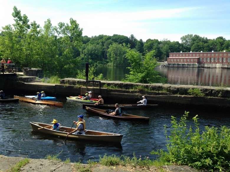 people paddling