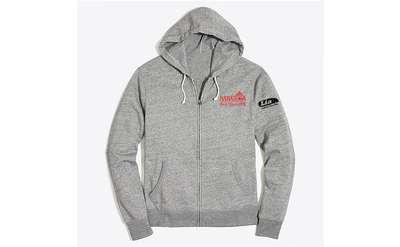 gray zip-up hoodie sweatshirt with saratoga logo