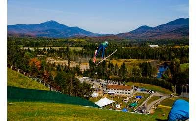 ski jumper in fall