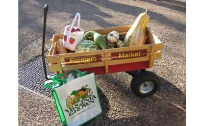 Photo of wagon full of fall vegetables