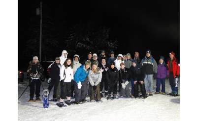 Moonlight snowshoe tour at Lapland Lake