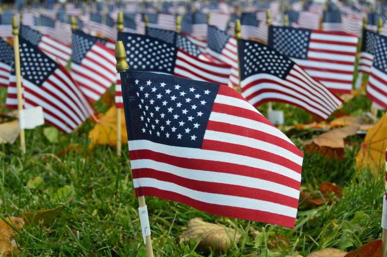 american flags in the ground