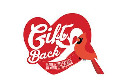 "gift back logo of a heart and a cardinal with ""gift back"" on it"