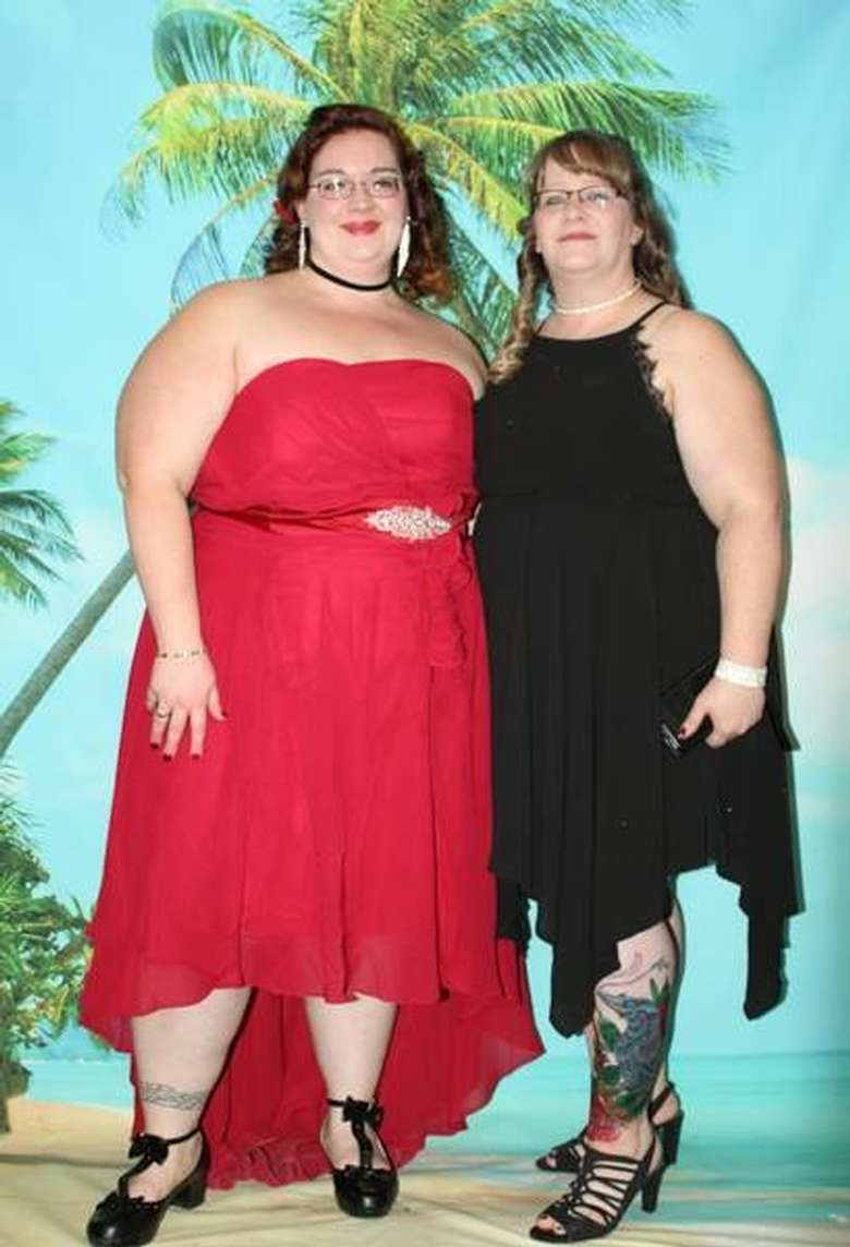 two women at a mom prom