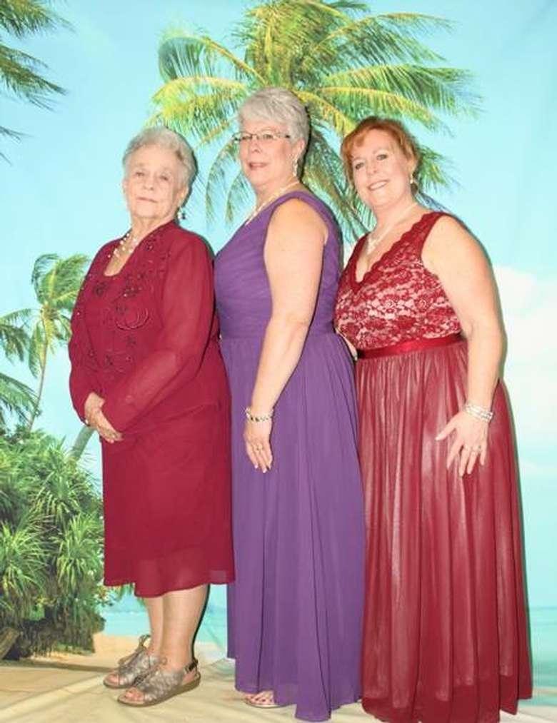 three women at a mom prom
