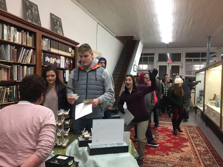line of people indoors