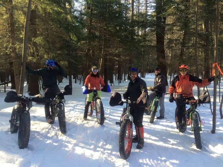 bikers in the snow