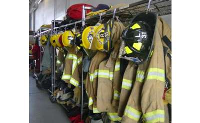 fire uniforms on rack