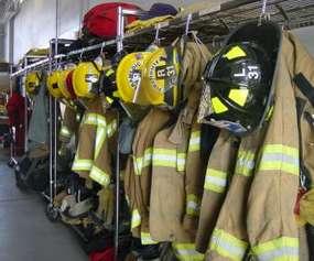 fire uniforms on rack